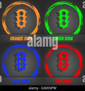 Traffic light signal icon. Fashionable modern style. In the orange, green, blue, red design. Vector - Stock Photo