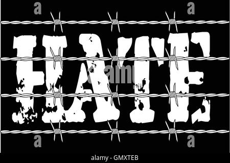 Hate With Barbed Wire - Stock Photo