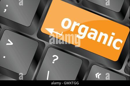 organic word on green keyboard button, vector illustration - Stock Photo