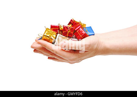 gift box in hand girls. Time gifts - Stock Photo