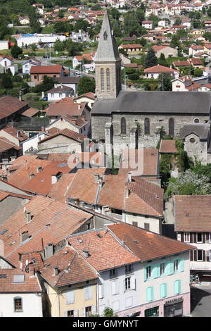 View over the town of Tarascon-sur-Ariege, Languedoc, France - Stock Photo