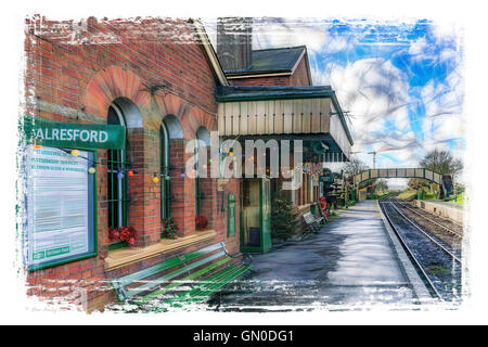 The Watercress Line heritage railway in Hampshire - Stock Photo