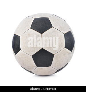 Old soccerball on white background - Stock Photo