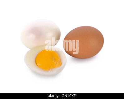 Boiled egg isolated on white background - Stock Photo
