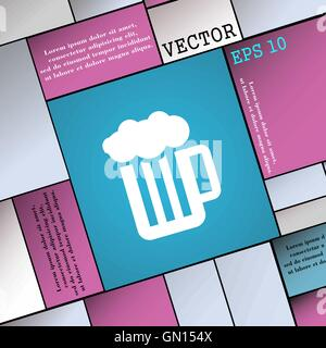 Glass of beer with foam icon sign. Modern flat style for your design. Vector - Stock Photo