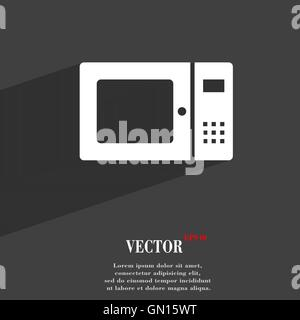 microwave symbol Flat modern web design with long shadow and space for your text. Vector - Stock Photo