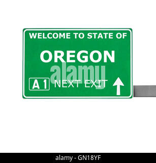 OREGON road sign isolated on white - Stock Photo