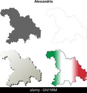 Map of Italy Alessandria province Stock Vector Art Illustration