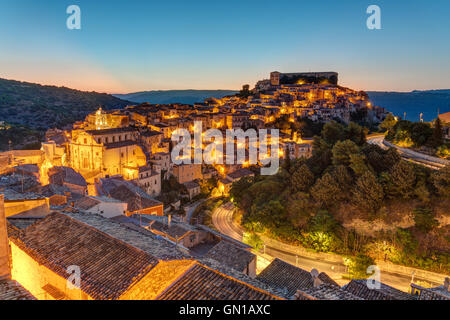 The old town of Ragusa Ibla in Sicily at dusk - Stock Photo