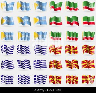 Tuva, Chechen Republic, Greece, Macedonia. Set of 36 flags of the countries of the world. Vector - Stock Photo