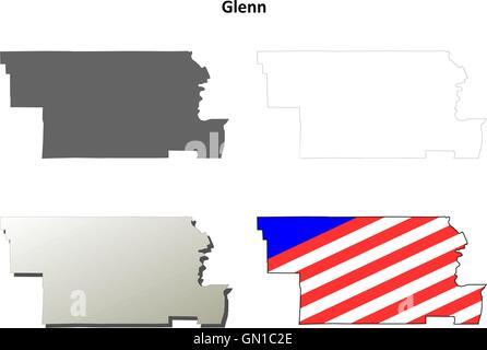 Glenn County California Map.Glenn County California Outline Map Set Stock Vector Art