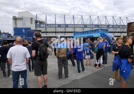 Everton fans arriving for the Premier League match at Goodison Park, Liverpool. PRESS ASSOCIATION Photo. Picture - Stock Photo