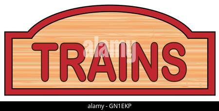 Wooden Trains Sign - Stock Photo