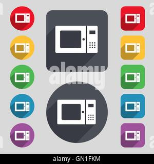 microwave icon sign. A set of 12 colored buttons and a long shadow. Flat design. Vector - Stock Photo