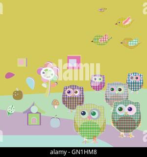 vector owls and birds on tree branches. nature element set - Stock Photo