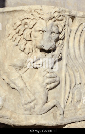 Relief of lion kills an antelope from an ancient roman sarcophagus replica, in Villa Borghese public park, Rome - Stock Photo