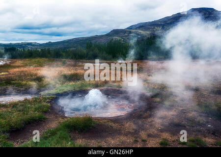 Litli Geysir,  geothermal area, Haukadalur, Golden Circle, Geysir, Reykjavik, Iceland - Stock Photo