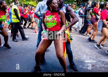 Revelers at the 50th Notting Hill Carnival, London, 2016. Credit:  wayne Tippetts/Alamy Live News - Stock Photo
