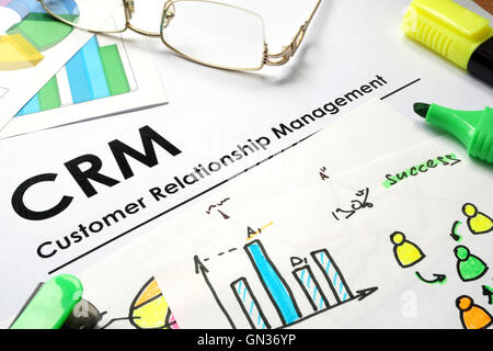 CRM or Customer relationship management words on yellow road