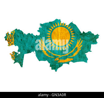 Vintage paper map of Kazakhstan - Stock Photo