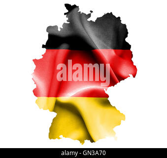 Map of Germany with waving flag isolated on white - Stock Photo