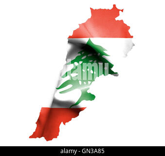 Map of Lebanon with waving flag isolated on white - Stock Photo