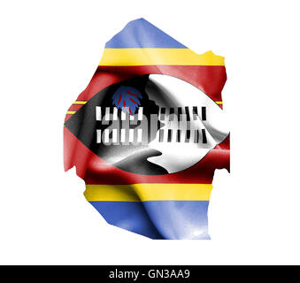 Map of Swaziland with waving flag isolated on white - Stock Photo