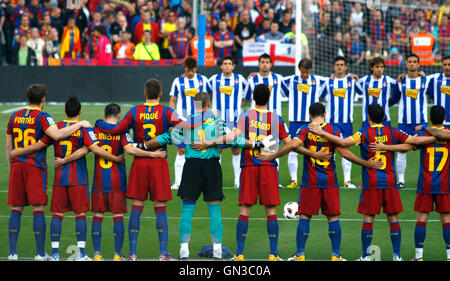 Football teams concentrated before a Spanish League match between FC Barcelona and Espanyol  on Camp Nou, on May - Stock Photo