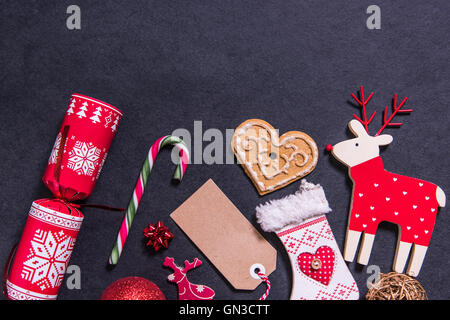 Christmas vintage toys and objects, border background - Stock Photo