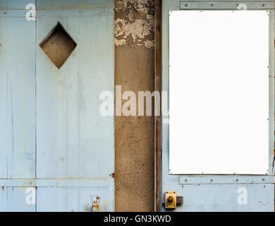 Antique blue wooden doors with white panel in blank. Antique european style. - Stock Photo