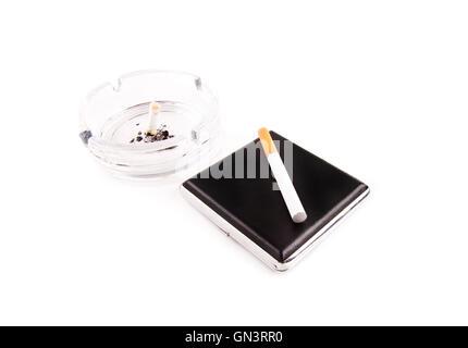 electric cigarette and a real cigarette concept - Stock Photo