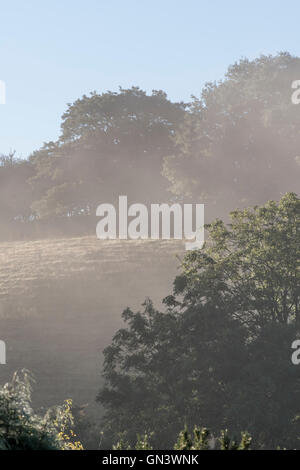 Morning mists as Lostwithiel, Cornwall. - Stock Photo