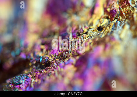 Fantastic multi-coloured background from thin layer of the titan on a quartz surface Macro, for successful business - Stock Photo