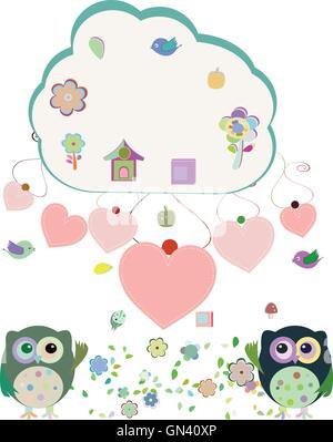 owls, birds, flowers, cloud and love heart, vector illustration