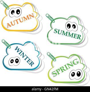 Season flat icons set.  Template for computing web and app. Vector illustration. - Stock Photo