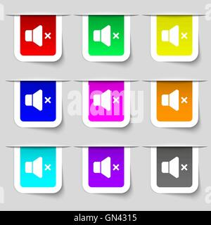 No Volume icon sign. Set of multicolored modern labels for your design. Vector - Stock Photo