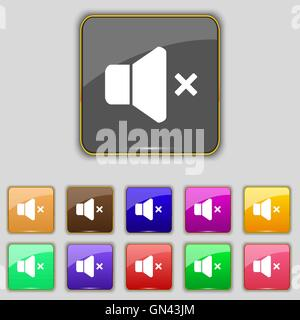 No Volume icon sign. Set with eleven colored buttons for your site. Vector - Stock Photo