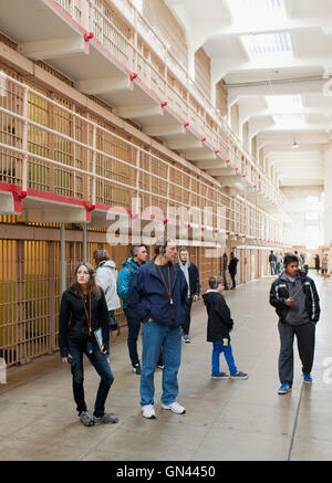 Prison cells, Alcatraz Island, The Rock, San Francisco, California, United States of America.  Alcatraz Island is - Stock Photo