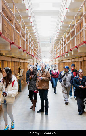 Prison cells, Alcatraz Island, The Rock, San Francisco, California, United States of America.  Alcatraz Island is - Stock Photo