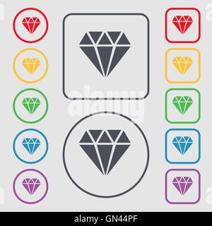 diamond icon sign. symbol on the Round and square buttons with frame. Vector - Stock Photo