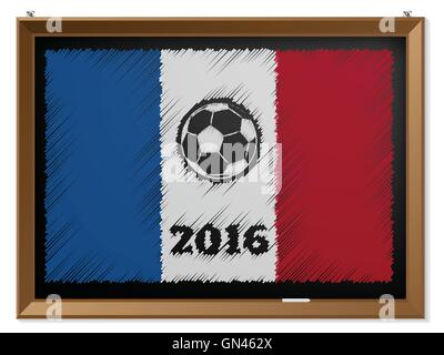 France flag and soccerbal on chalkboard - Stock Photo