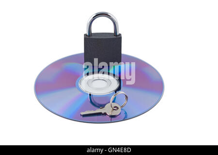 Padlock and key on cd isolated. Concept computer safety. - Stock Photo