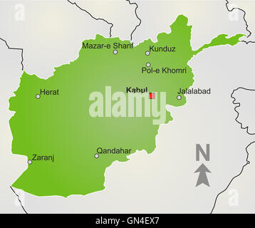 A stylized map of Afghanistan - Stock Photo