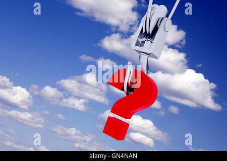 metallic hook with the suspended question-mark on a background clouds - Stock Photo