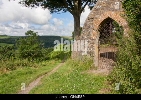 rural Devon landscape of the leper fields with castle gate in the foreground, viewed from Castle Hill, Great Torrington, - Stock Photo