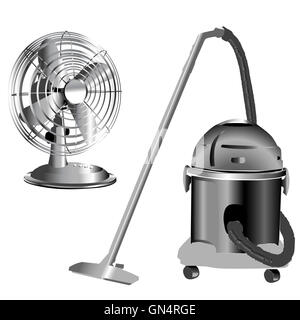 silver wind fan and vacuum cleaner - Stock Photo