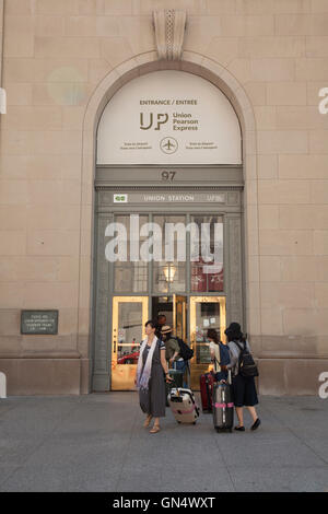 TORONTO - AUGUST 8, 2016: The Union Pearson Express is an airport rail link running between Union Station in Downtown - Stock Photo