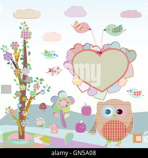 Set of nature elements: owls and birds on branches and tree. vector - Stock Photo