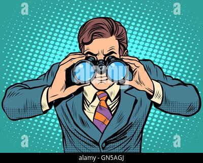 Businessman looking through binoculars. Lead vision Navigator - Stock Photo