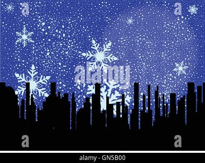 A snowflake filled sky over a black cityscape - Stock Photo